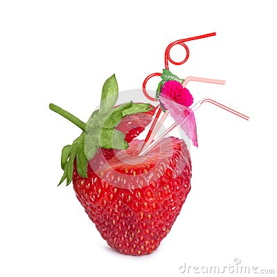 Free Creative Surreal Concept With A Strawberry Cocktail. Strawberries And Cocktail Straws Stock Photography - 107640862