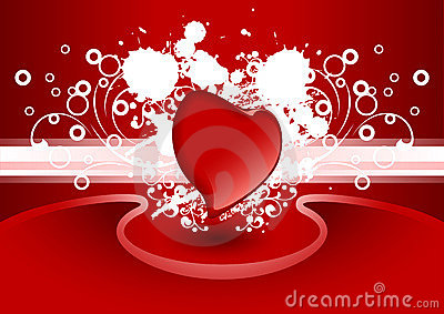 Creative Valentine greeting card with heart in red color, vector