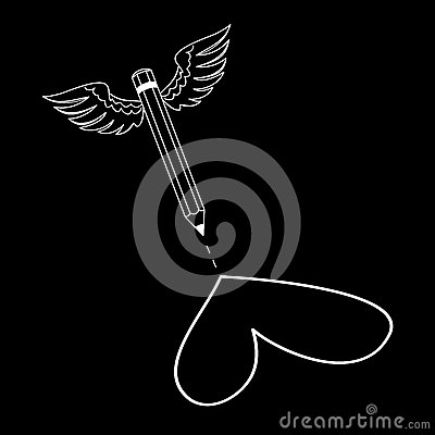 Creative vector of a flying pencil with wings drawing heart. Vector Illustration