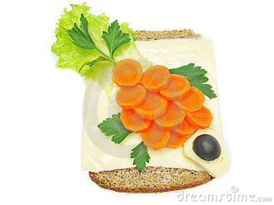 Creative vegetable sandwich with carrot and cheese