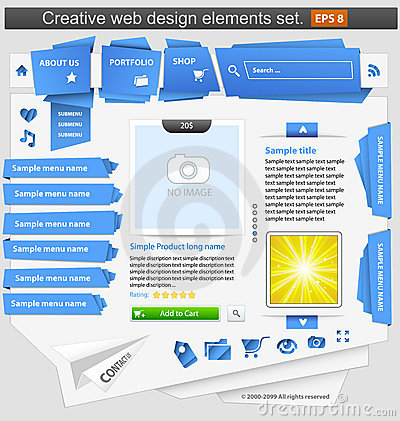 Creative web design elements set
