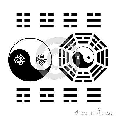 Creative Yin Yang symbol trigram sign