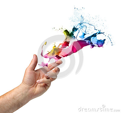 Free Creativity Concept Hand Throwing Paint Stock Image - 30709001