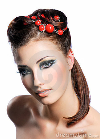 Creativity hairstyle and fashion make-up