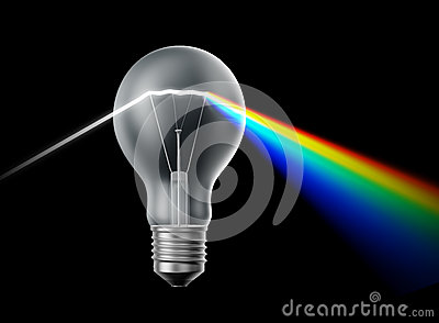 Creativity and innovation concept - bulb prism