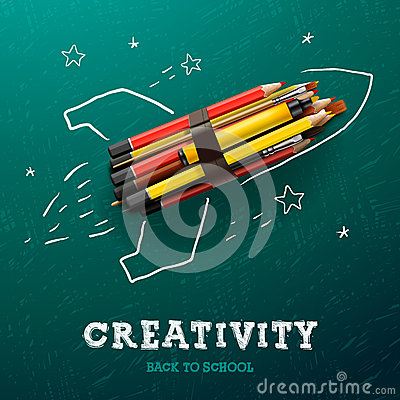 Free Creativity Learning. Rocket With Pencils Royalty Free Stock Photography - 40855797