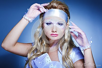 Creativity make-up with stylish hairstyle