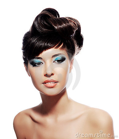 Creativity make-up with stylish hairstyle