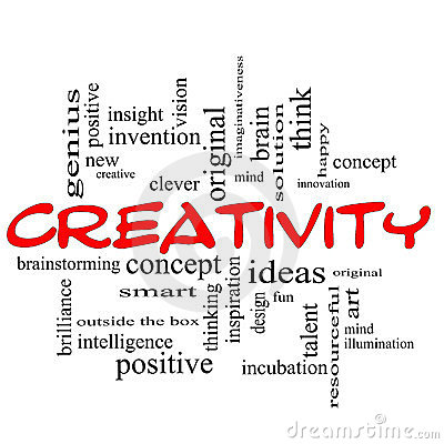 Creativity Word Cloud Concept Red Black