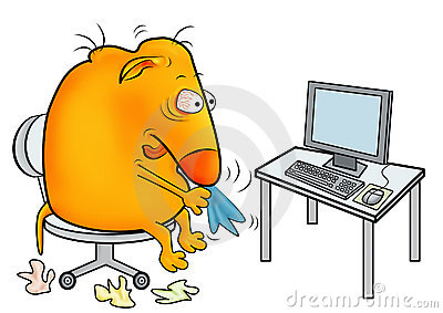 Creature with a cold, working at office