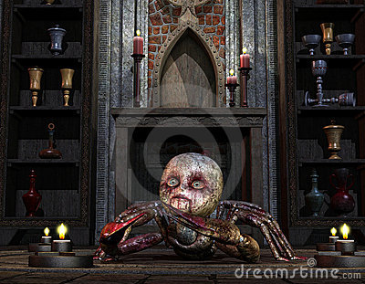 Creature in front of the altar