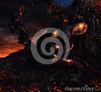 Free Creature Made From Lava Stock Photo - 54533630