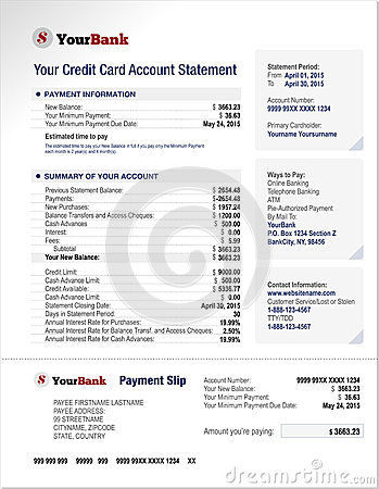 Free Credit Card Bank Account Statement Template Royalty Free Stock Photo - 54358975