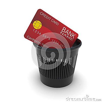 Credit card in a black trash