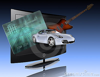 Credit card, car, flat panel and guitar