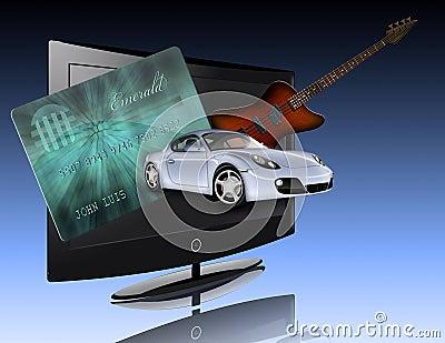Credit card, car, flat panel and guitar
