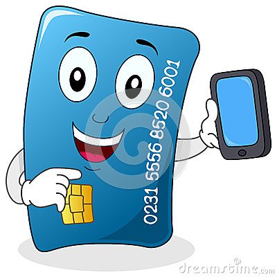 Credit Card with Cell Phone Character