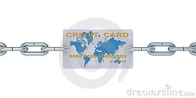 Credit card on a chain.