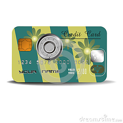 Credit card with combination lock