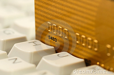 Credit card and computer keyboard. Online shopping