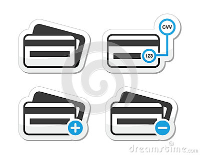 Credit Card, CVV code icons as labels set
