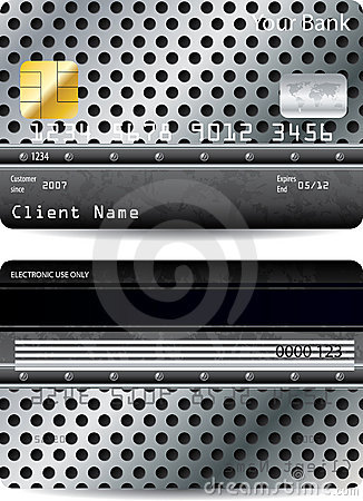 Credit card design with metal background