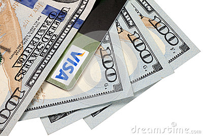 Credit card and dollars Editorial Photography