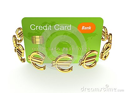 Credit card and euro signs.