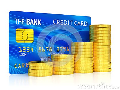 Credit card and graph of coins