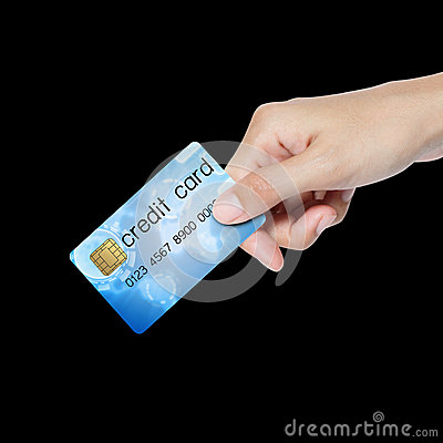 Credit card hold by hand.