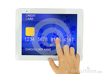 Credit card in PC tablet