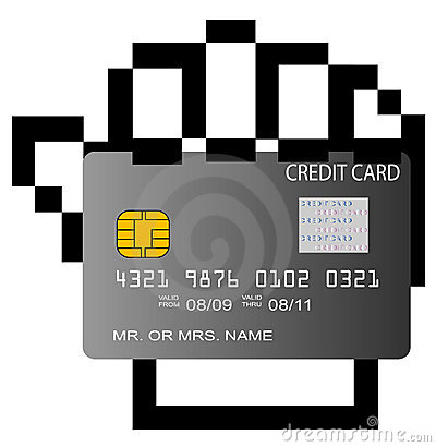 Credit card in pixelated hand