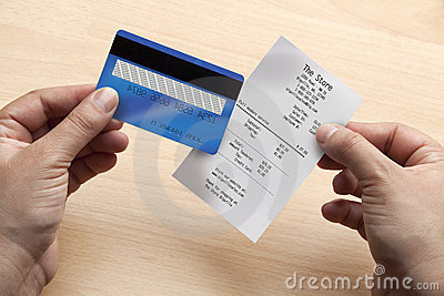 Credit card and receipt