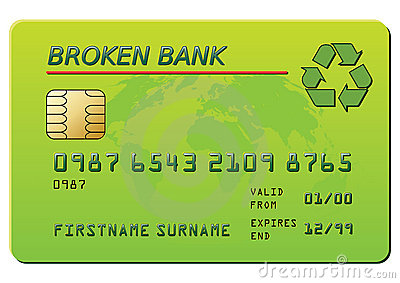 Credit card with recycling symbol
