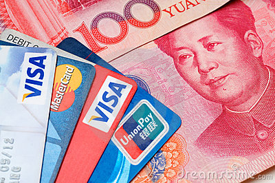 Credit card with RMB Editorial Image