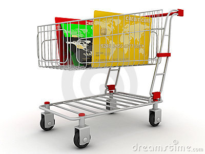Credit card in shopping cart