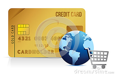 Credit card, shopping cart and globe - concept