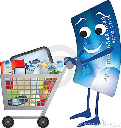 Credit card and shopping trolley cartoon