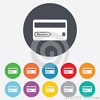 Credit card sign icon. Debit card symbol.