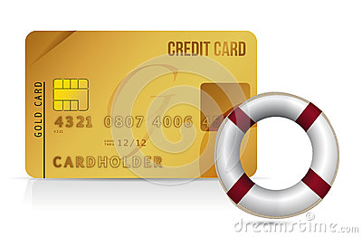 Credit card sos lifesaver illustration