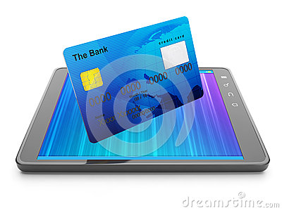Credit card and tablet