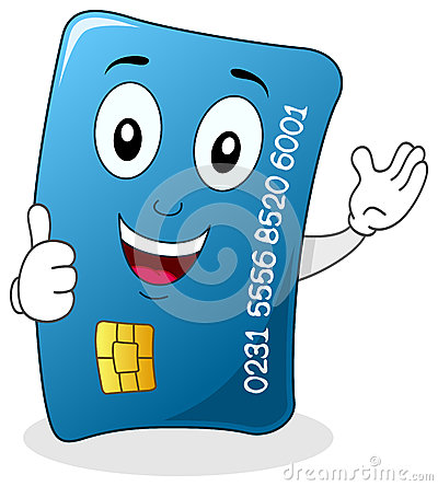 Credit Card with Thumbs Up Character