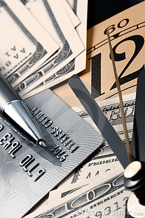 Credit card, time and dollars cash