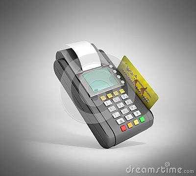 Free Credit Card Trminal Machine 3D Rendering On Grey Stock Photos - 96033623