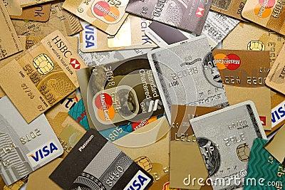 Credit Cards Cut into Half Editorial Stock Image