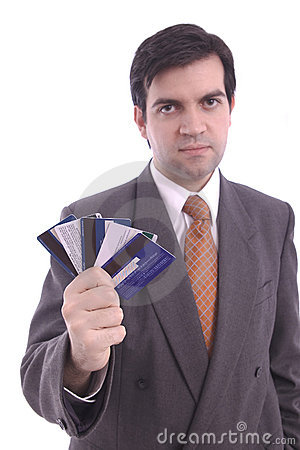 Credit cards holded by a businessman