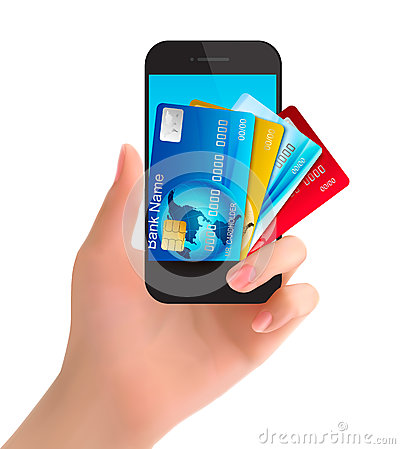 Free Credit Cards In A Phone. Internet Banking Concept. Royalty Free Stock Images - 38709349
