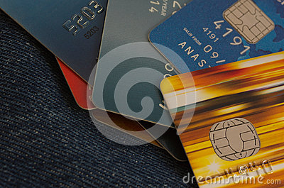 Credit cards on jeans background
