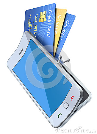 Credit cards in the smartphone purse