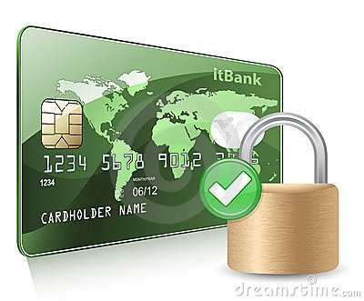 Credit or debit card and padlock